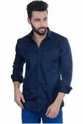 Plain Men Blue Casual Shirt