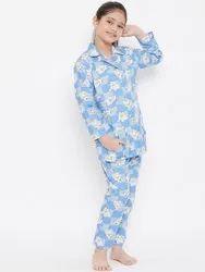 Female Multicolor Cotton Kids Night Suit