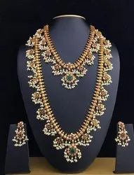 Jewel Ora Indian Bridals Silver Necklace Set, Real Gold Polish Gbc Polished, Weight: 200 To 500 Grams