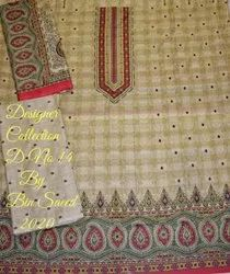 Cotton Casual Wear Bin saeed lawn printed suits, Size: Free