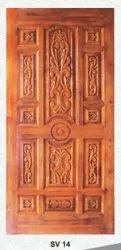 Exterior Teak Wood Door With Carving, For Home