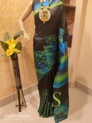 Party Wear Hand painted Pure Silk Saree, 6.5