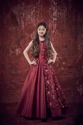 Female Red Flower Girl Gown, For Party Or Wedding Wear