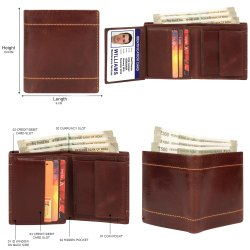 Brown Bi Fold Men leather trendy wallet, Card Slots: 7