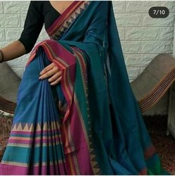 6.3 M ( With Blouse Piece) Casual Handwoven Cotton Silk Temple Weaving Sarees