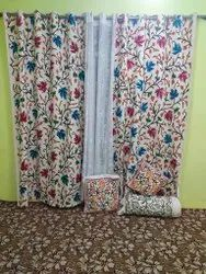 Chinar Leaves Handmade Crewel Hand Embroidered Curtains, Size: 7.5ft X4ft