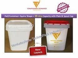 15 Ltr Square Plastic Bucket With Spout Cap & Plastic Handle