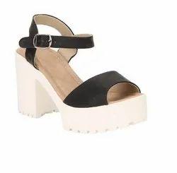 Black High Heel Sandals, Size: 5