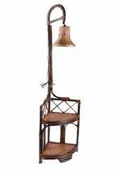 Cane(rattan) Brown Corner Rack Cane Lamp, Height 5 Feet