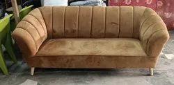 Wooden Brown Living Room Sofa Set, Cushion Back