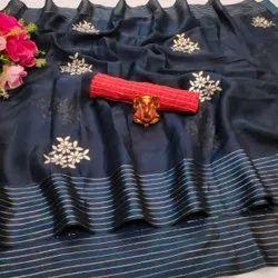 Khatushyam creation Party Wear Cotton Lining Designer Sarees, With Blouse, 6.3 m
