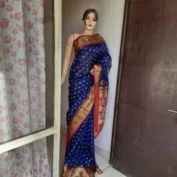 Stupendo dresswala Blue Pure Banarasi Silk Sarees, 6.3 m (with blouse piece)