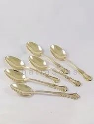 Golden Brass Spoons, For Party, Size: 20 Cm Lenght