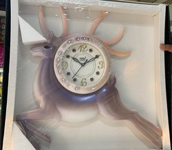 Brown Analog Plastic Round Wall Clock, For Home