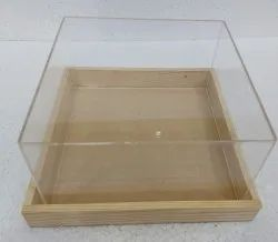 Natural acrelic box with wooden tray, For gift, Squar
