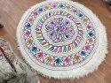 Woolen White Round Felted Namda Rug, Size: 4 Feet X 4 Feet