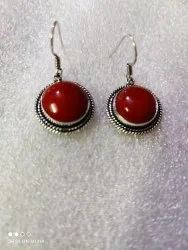 Red silver plated earring