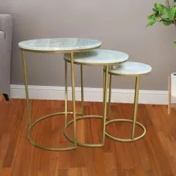 Nesting table set of 3 with marble top