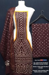 Jacquard cotton bandhani suit