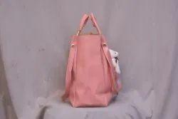 Pink Plain Pu leather bag