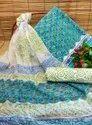 Sanganeri Hand Block Printed Pure Cotton Suit Set With Chiffon Dupatta