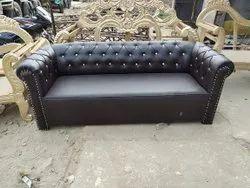Black Rexine Wedding Leather Sofa