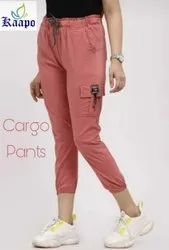 2 way stretchable fabric Plain Cargo Pants for Womens, Size: 36 Waist