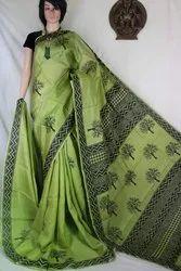 Pure Handloom Bengal Murshidabad Silk Hand Block Printed Sarees, 6.3 m (with blouse piece)