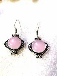 Pink Silver Earring