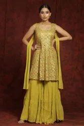Chiffon Stitched Designer Sharara Suit, Handwash