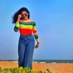 Multicolor Rainbow Crop Top Full Sleeves