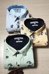 French America Collar Neck Mens Cotton Shirt, Size: S M L Xl
