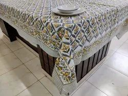 Vht Cotton Hand Block Printed Table Cover, Size: 60*90 Inch