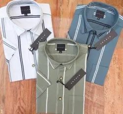 Simple Collar Cotton Mens Casual Line Print Shirts