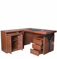 L Shape Wooden Office Executive Table, Brown