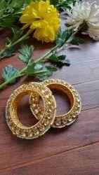 Golden And Red Brass Kundan Wedding Bangles
