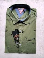 Multicolor Collar Neck Wud N Burg Men's Printed Shirt