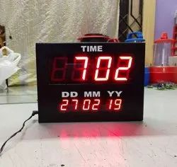 Red Metal LED Time Clock With Date Display, Input 220 VAC +- 10 %,50 HZ, Size/Dimension: Custom