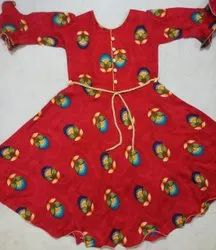 Red Girl Kids Rayon Frock