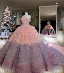 Party Wear Multicolor Designer Ball Gown