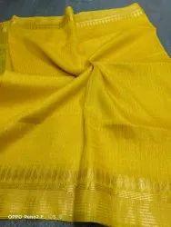 Devi textile Party Wear Silk Linen Jamdani Saree Manufacturers, 6.3 m (with blouse piece)