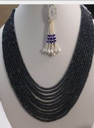 Blue Sapphire Beads Necklace, Shape: Circle, Size: 24 Inches