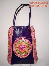 Multicolor Female Leather Full Chain Bag