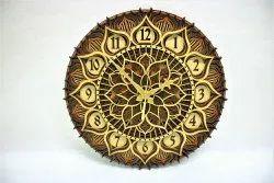 Quartz Multicolor Round Mandala Wall Clock, For Home, Size: 12*12 Inch