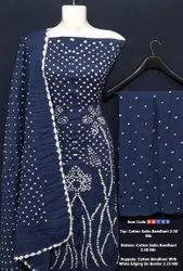 Cotton Satin Bandhni Suit