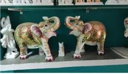 Painting Brown Multicolor Marble Elephant Statue For Home Decor, For Decoration, Size/Dimension: 1 Feet