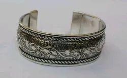 Wedding Antique Silver Cuff Bracelet, 35 Gm, Size: 6.5 Inch