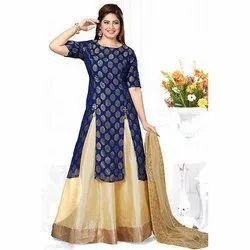 Silk Printed Women Indo Western Dress