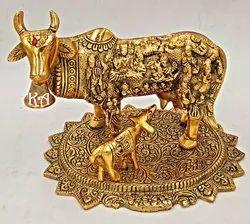 White Metal Kamdhenu Cow Calf Statue