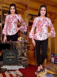 Party Wear Bell sleevee Poy crepe printed Women top, Size: S M L Xl Xxll